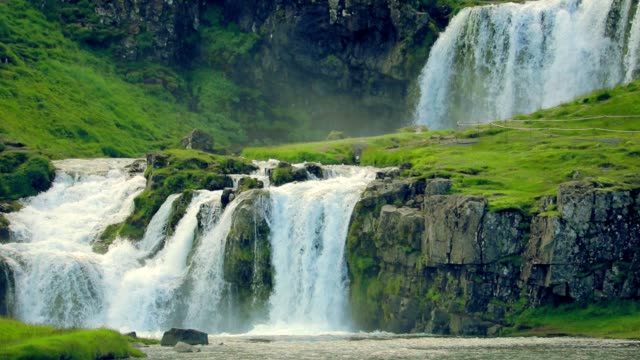 Kirkjufellsfoss waterfall in Iceland, slow motion