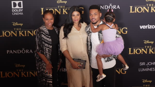 "kirsten corley, chance the rapper and kensli bennett at the world premiere of disney's ""the lion king"" at dolby theatre on july 09, 2019 in... - chance stock videos & royalty-free footage"