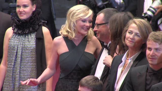 kirsten dunst, lars von trier, charlotte gainsbourg, charlotte rampling at the melancholia premiere: 64th cannes film festival at cannes . - charlotte rampling stock videos & royalty-free footage