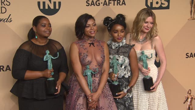 kirsten dunst octavia spencer taraji p henson and janelle monae at 23rd annual screen actors guild awards press room photo room at the shrine expo... - taraji p. henson stock videos and b-roll footage