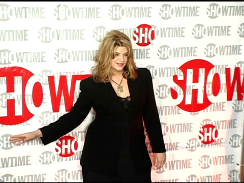 kirstie alley of 'fat actress' at the star-studded tca press tour party hosted by showtime at universal studios in universal city, california on... - showtime video stock e b–roll