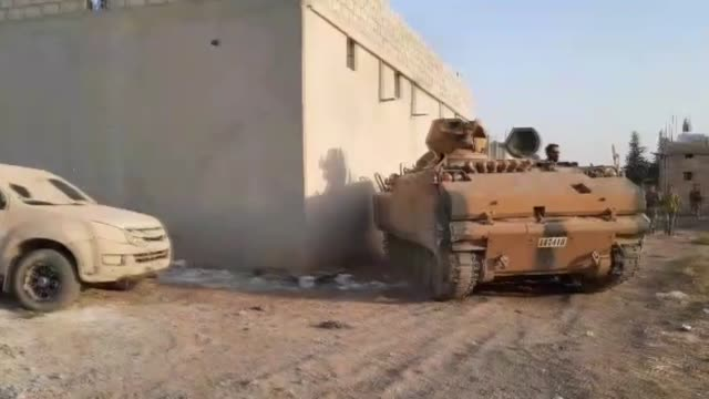kishtho village in ras alayn district of syria have been cleared thursday of terrorists as part of turkey's newly launched antiterror operation... - siria video stock e b–roll