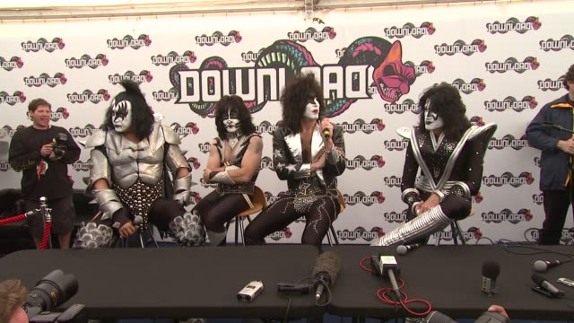 kiss on the rumours that there will be a reality tv show in which they will recruit a new member of the band. at the download festival at derbyshire . - reality tv stock videos & royalty-free footage
