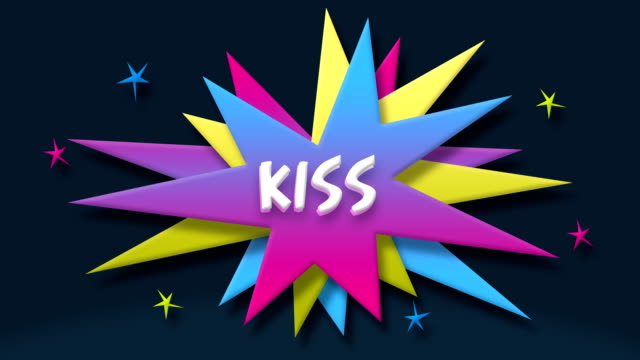 kiss text in speech balloon with colorful stars - manga style stock videos & royalty-free footage