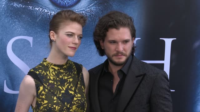 kit harington and rose leslie at 'game of thrones' season 7 premiere at walt disney concert hall on july 12, 2017 in los angeles, california. - premiere event stock videos & royalty-free footage
