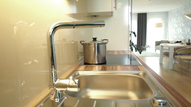 kitchen sink in modern flat - ステンレス点の映像素材/bロール