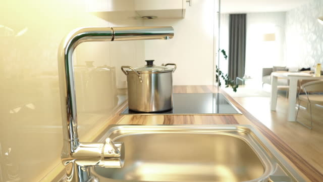 kitchen sink of modern apartment