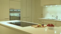 Kitchen with wooden door style and modern interior design