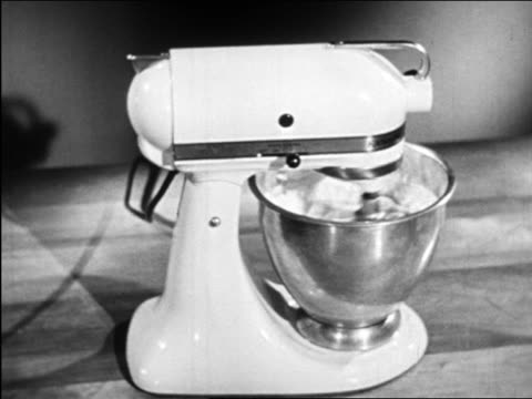 b/w 1948 kitchenaid-type electric mixer / industrial - mixing bowl stock videos and b-roll footage