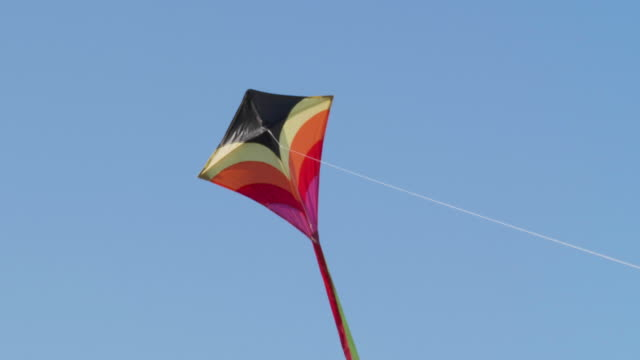cu kite flying in blue sky - kite toy stock videos and b-roll footage
