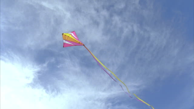 LA WS Kite flying in wind with clouds in background / Phippsburg, Maine