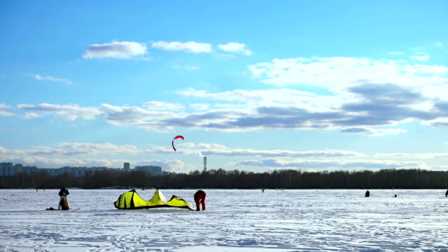 Kite skiing in winter