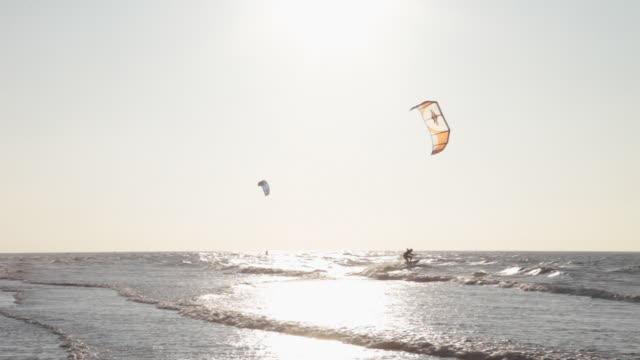 Kite surfer on beach in Ostend, Belgium