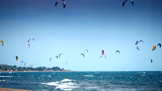 kite surfers. - extreme sports stock videos & royalty-free footage