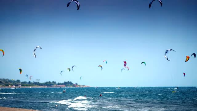 kite surfers. - kiteboarding stock videos & royalty-free footage