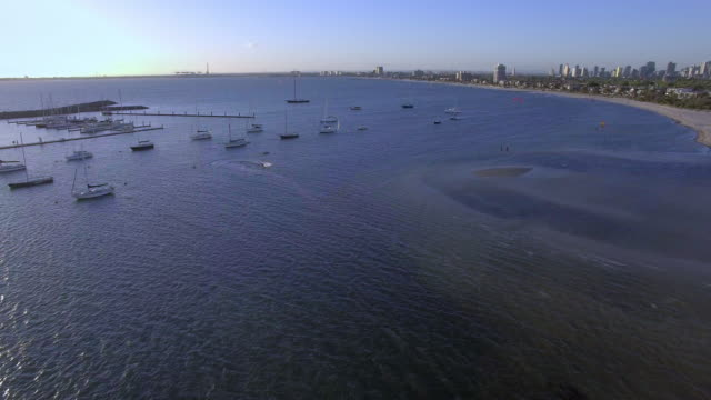 Kite Surfing in St Kilda at Sunset.