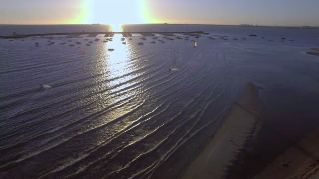 kite surfing in st kilda at sunset. - david ewing stock videos & royalty-free footage