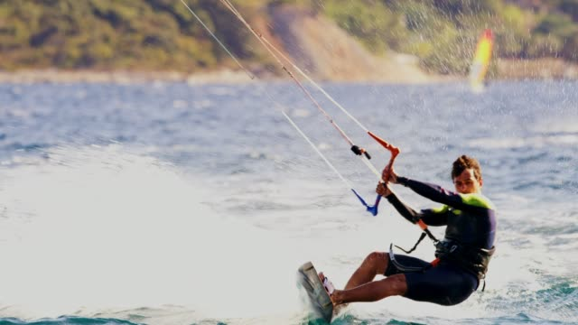 ws zi kiteboarders on the sea - cruising stock videos & royalty-free footage