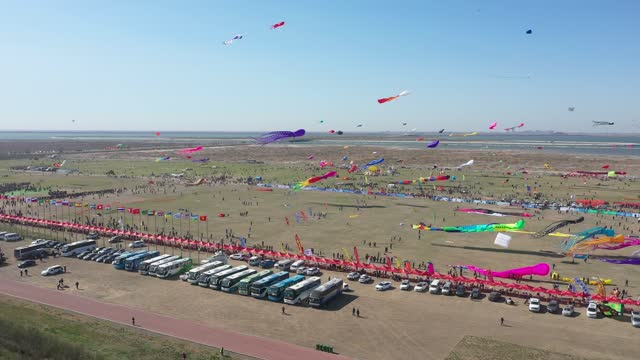 kites fly at the opening ceremony of the 38th weifang international kite festival on april 17, 2021 in weifang, shandong province of china. - celebratory event stock videos & royalty-free footage