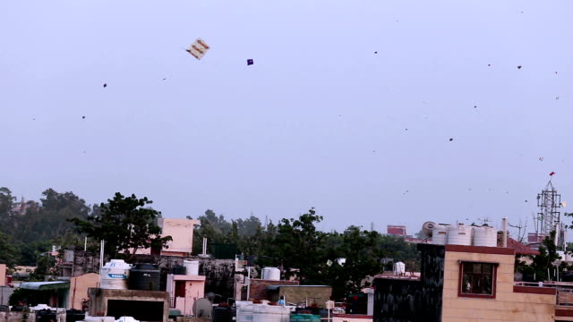 kites flying in the sky - kite toy stock videos and b-roll footage
