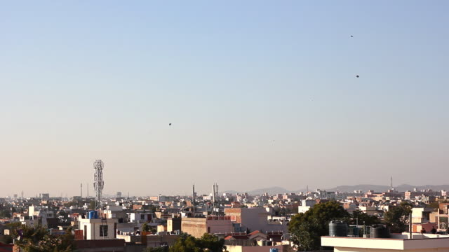 kites flying over jaipur, india - kite toy stock videos and b-roll footage