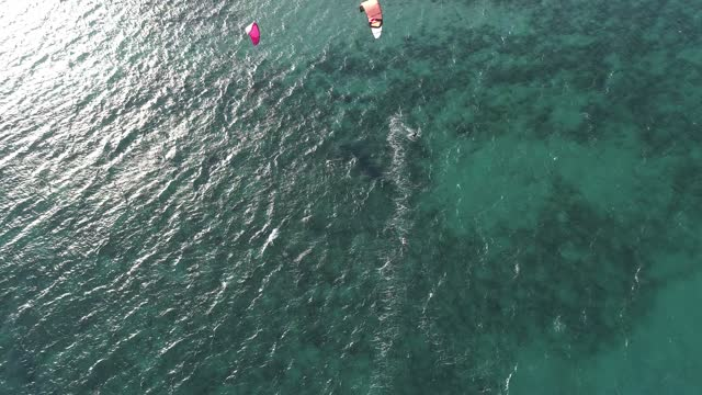 kitesurfer sails the waters of the gulf of california durin in this aerial view amid covid-19 pandemic at playa la ventana on january 16, 2021 in la... - northern mexico stock videos & royalty-free footage