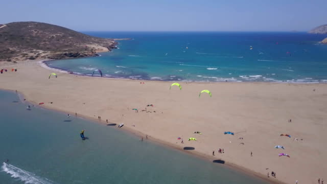 kitesurfing holidays - rhodes dodecanese islands stock videos & royalty-free footage