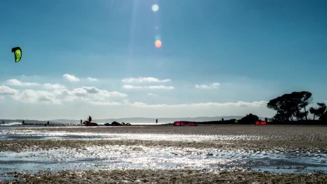 Kitesurfing spot with rising tide