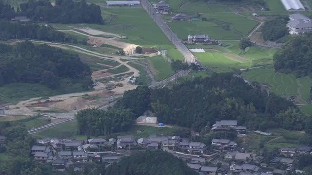 aerial, kitora tomb, nara, japan - 農村の風景点の映像素材/bロール