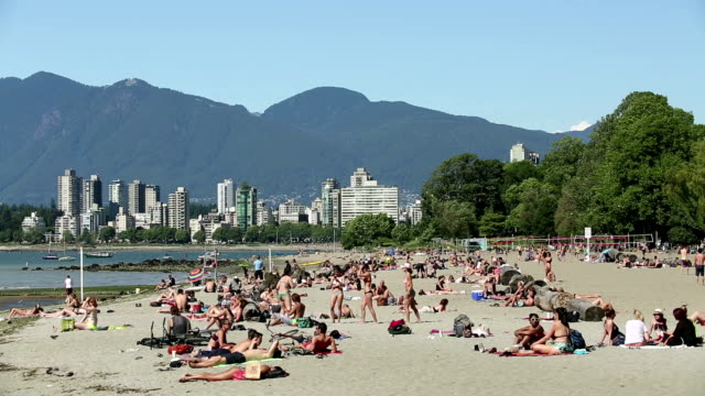 kitsilano beach vancouver british columbia - vancouver canada stock videos & royalty-free footage