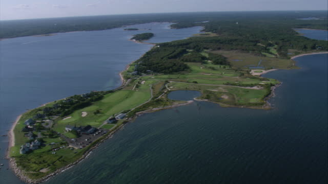 aerial kittansett seaside golf course / marion, massachusetts, united states - country club stock videos & royalty-free footage