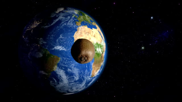 kiwi orbiting the earth - kiwi fruit stock videos and b-roll footage