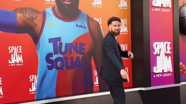 """klay thompson attends the premiere of warner bros """"space jam: a new legacy"""" at regal live on july 12, 2021 in los angeles, california. - space jam stock videos & royalty-free footage"""