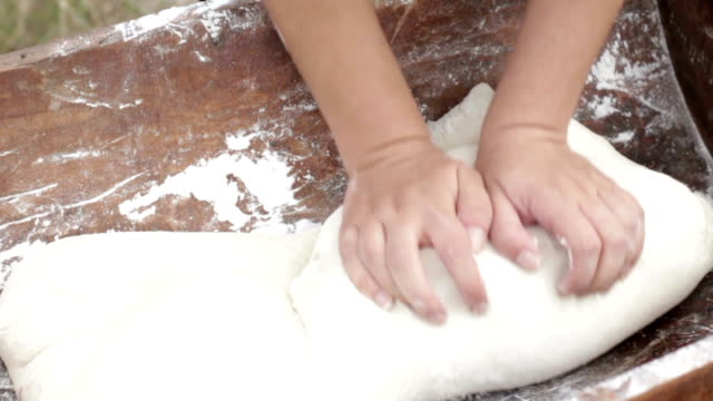 kneading bread dough - peasant bread stock videos and b-roll footage