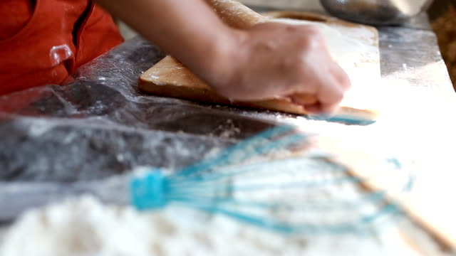 kneading dough - rolling pin stock videos & royalty-free footage
