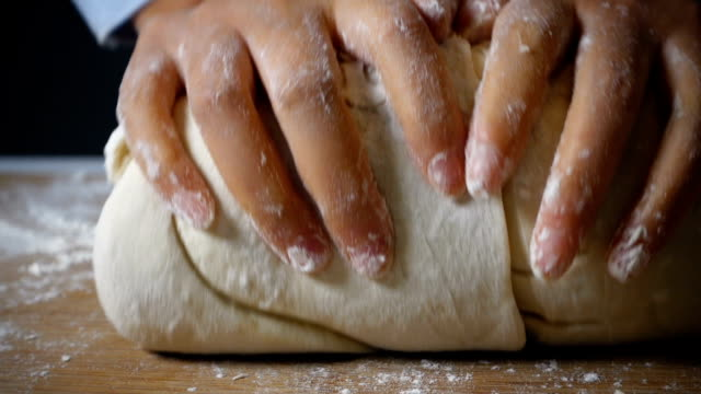 kneading dough - peasant bread stock videos and b-roll footage