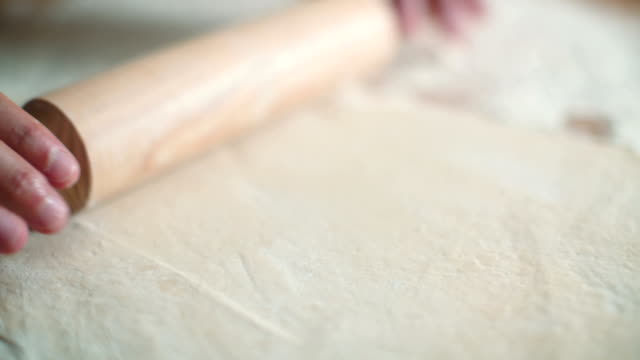 Kneading dough with rolling pin
