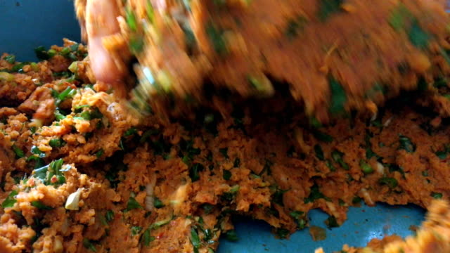 Kneading vegetable balls, raw meatballs, lentil balls, vegan food