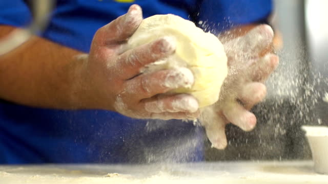 kneading yeast dough, slow motion - dough stock videos and b-roll footage