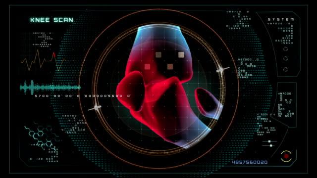 vídeos de stock, filmes e b-roll de joelho data interface de digitalização. - articulação humana termo anatômico