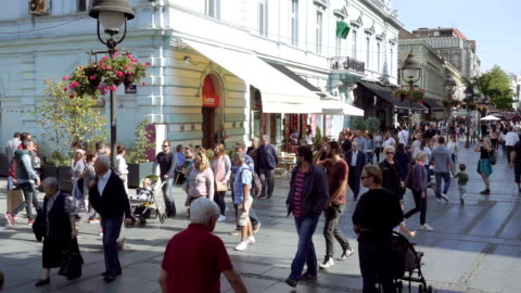 knez mihailova street, belgrade - pedestrian zone stock videos & royalty-free footage