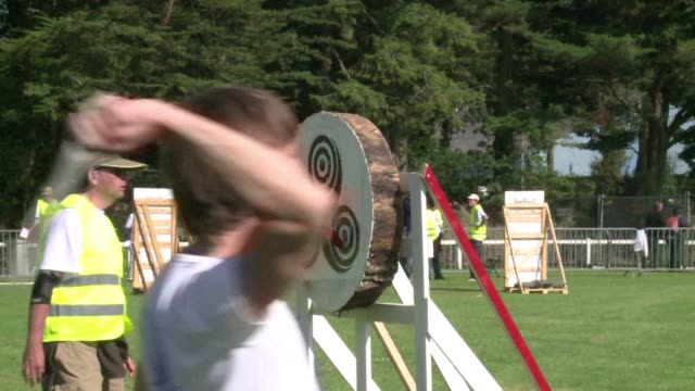 knife and ax throwers from 15 countries met to compete in the sports world championship held in western france - world sports championship stock videos & royalty-free footage