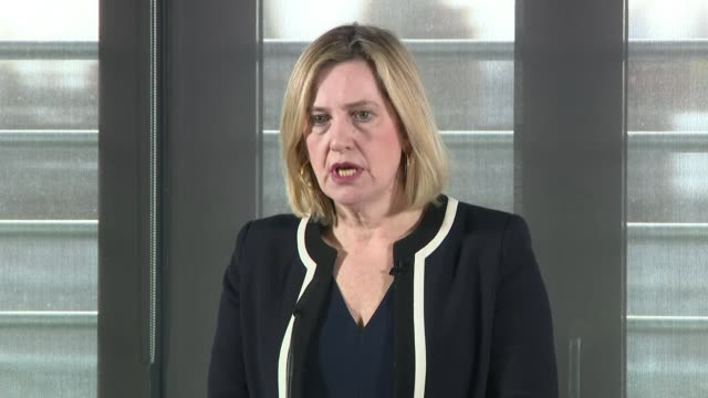 Cressida Dick claims there is a link between violent crime and falling police numbers ENGLAND London INT Amber Rudd MP along to podium / speech SOT