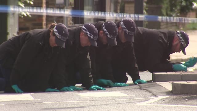 cressida dick tells mps knife crime rates are falling but are still too high uk london pinner police officers crawling along floor as searching for... - cressida dick stock videos & royalty-free footage