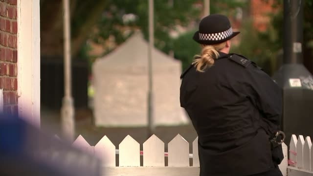 Four killed in four days after spate of attacks in London ENGLAND London Stratford Whalebone Lane EXT Police car and police officers near crime scene...