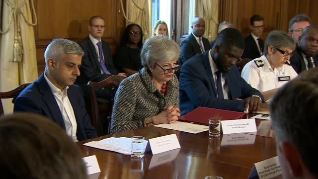 Idris Elba backs mobile campaign to reduce the number of knives on UK streets ENGLAND London Downing Street INT Theresa May MP alongside Sadiq Khan...