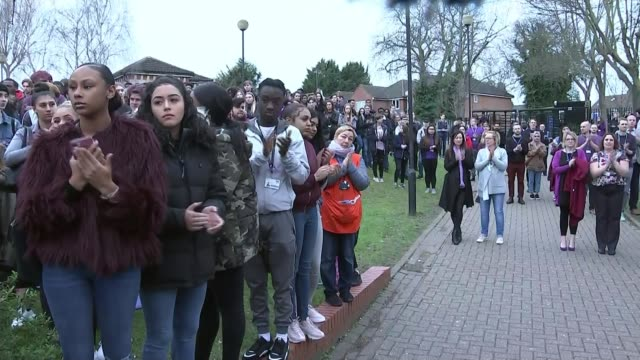Jodie Chesney murder second person arrested ENGLAND Greater London Havering Sixth Form College EXT Students hugging Man addressing students and...