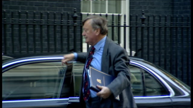 justice secretary announces new legislation england london downing street ext kenneth clarke mp out of car as along to number 10 - 政治家 ケネス・クラーク点の映像素材/bロール