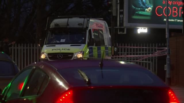man charged after three men fatally stabbed in ilford; england: london: illford: ext / night forensic tent and tape cordon across road police van... - ilford stock videos & royalty-free footage