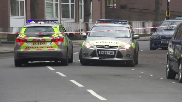 met chief visits glasgow on factfinding mission february 2018 england london camden ext various of police cars in cordonedoff road - スコットランド グラスゴー点の映像素材/bロール